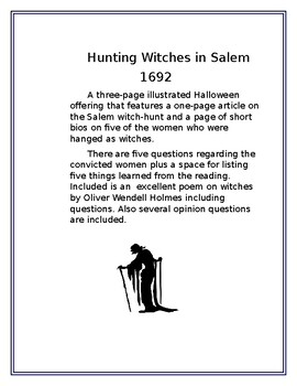 Hunting Witches in Salem ,1692