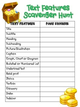 Hunting for Text Features--Scavenger Hunt
