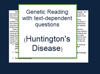 Genetics: Huntingtons Disease reading and questions