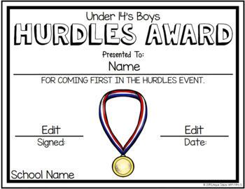Hurdles Track Athletics Awards Editable