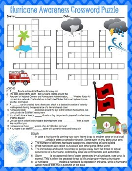 Hurricane Awareness Crossword and Word Search Find Activities