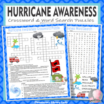 Hurricane Activities Awareness Crossword Puzzle and Word Search Find