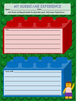 FREEBIE! Hurricane Michael Experience - LEGO Like Writing Prompt