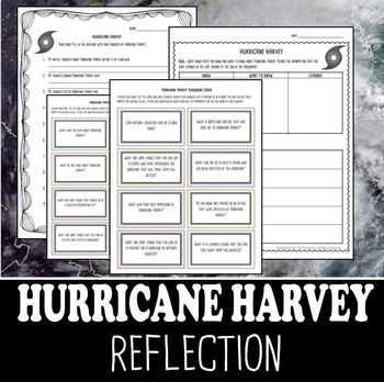 Hurricane Harvey Reflection- Discussion Cards and Writing Stems