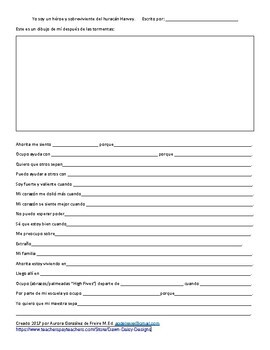 Hurricane Harvey Student Reflection Sheet English Spanish Bilingual