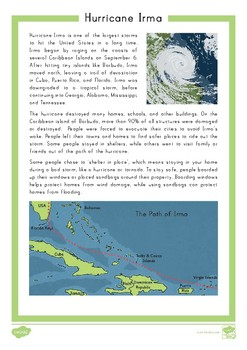 Hurricane Irma Fact File Comprehension Question Cards