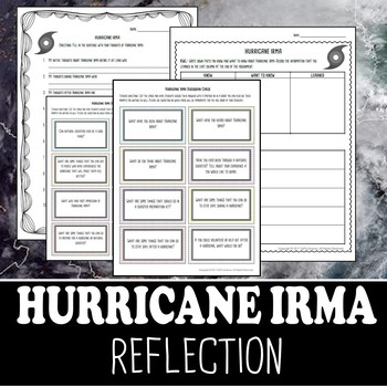 Hurricane Irma Reflection- Discussion Cards and Writing Stems