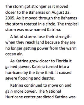 Hurricane Katrina Informational Text Comprehension Questions
