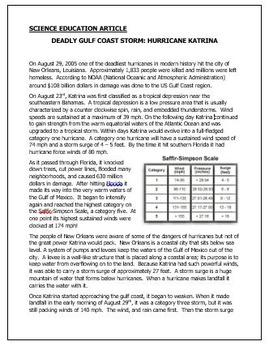 Hurricane Katrina - Science Informational Article/ Question Sheet