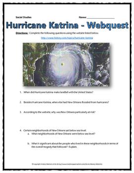 Hurricane Katrina - Webquest with Key (History.com)