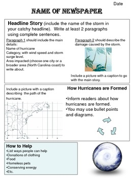Hurricane Newspaper Cover Story Poster Assignment