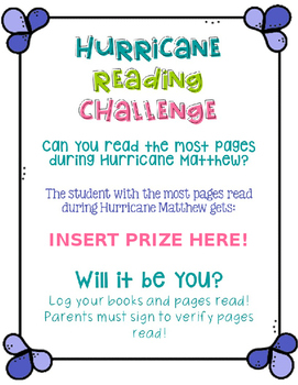 Hurricane Reading Challenge (Editable)