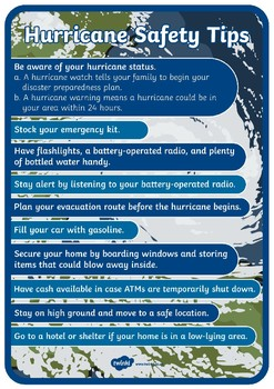 Hurricane Safety Tips Display Poster