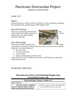 Hurricane Sandy Natural Disaster Meteorology Project Lesson Plan