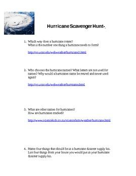 Hurricane Scavenger Hunt