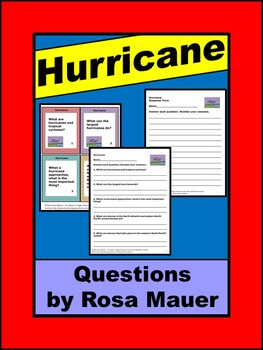 Hurricane Science Weather Task Cards and Worksheet