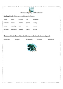 Hurricane Spelling Words and Test