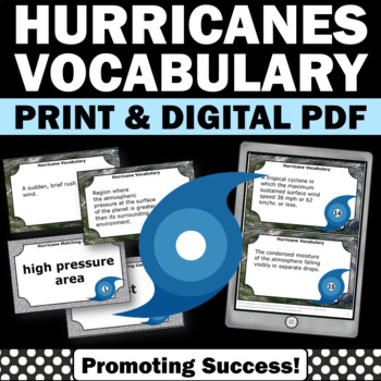 Hurricanes Task Cards for Weather Unit, Earth Science Vocabulary Review