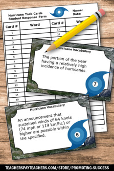 Hurricane Activities and Games with Task Cards Natural Disasters Unit Supplement