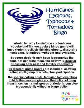 Hurricane, Tornado, Typhoon & Cyclone Vocabulary Bingo