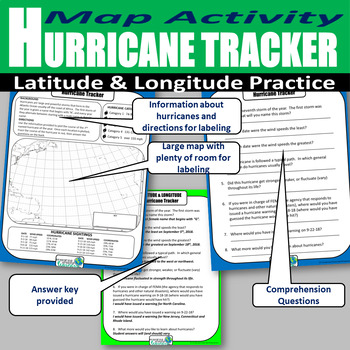 Hurricane Tracker Latitude and Longitude Activity