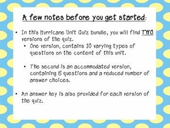 Hurricane Unit Quiz