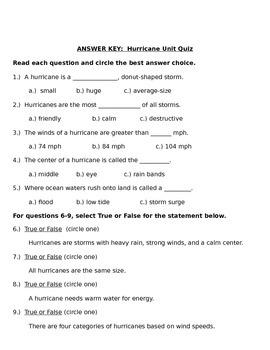 Hurricane Unit Quiz {Editable Version}