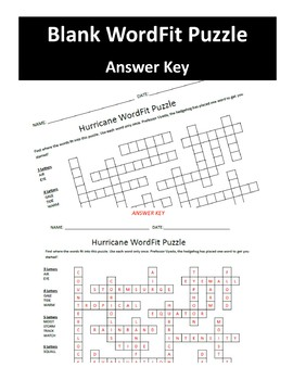 Hurricane Review Vocabulary Wordfit puzzle; Earth Science