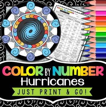 Hurricanes Color by Number - Science Color by Number