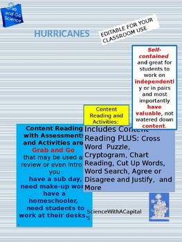 Hurricanes Content Reading with Activities and Assessments