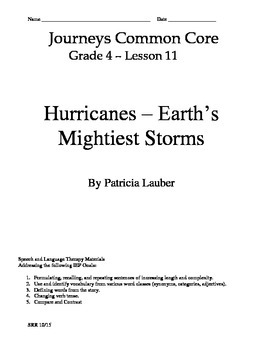 Journeys Common Core 4th - Hurricanes- Supplemental Packet for the SLP