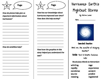 Hurricanes: Earth's Mightiest Storms Trifold - Journeys 4th Grade Unit 3 Week 1