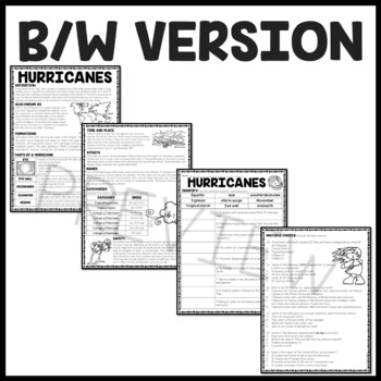 Hurricanes Informational Reading Comprehension Worksheet, Weather, Cyclones