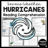 Hurricanes Informational Reading Comprehension Worksheet, Weather, Cyclones