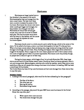 Hurricanes - Informational Text Test Prep