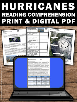 Hurricanes Worksheets, Science Reading Comprehension Passages, Sub Plans