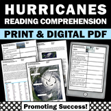 Hurricanes Reading, Science Reading Comprehension Passages and Questions