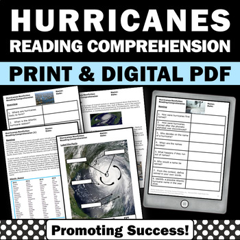 Hurricanes Reading Comprehension Passages and Questions for Earth Science Unit