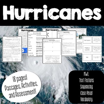 Hurricanes Packet with Questions, Text Features, Vocabulary and Sequencing