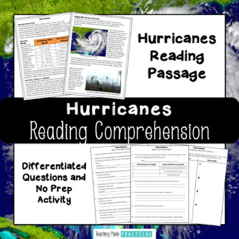 Hurricanes Reading Comprehension with Differentiated Questions