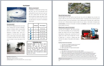 Hurricanes - Scientific Reading Comprehension Article – Grades 5-7