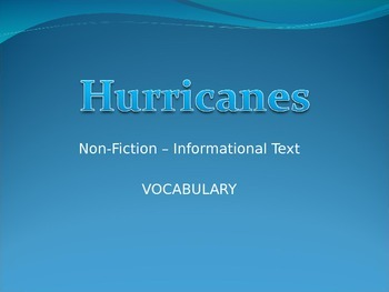 Hurricanes Vocabulary Power Point