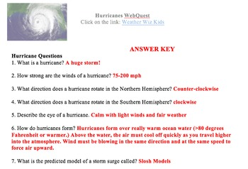 Hurricanes Web Quest
