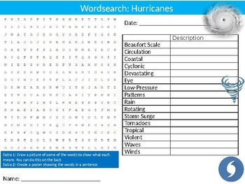 Hurricanes Wordsearch Puzzle Sheet Keywords Geography Weather