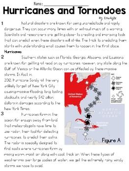 Hurricanes and Tornados Text and Question Set - FSA/PARCC-Style ELA Assessment