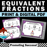 Equivalent Fractions Task Cards, 4th Grade Math Review