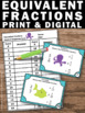 Equivalent Fractions Task Cards, 4th Grade Math Review, Fraction Games SCOOT