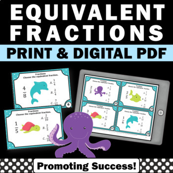 Equivalent Fractions Task Cards, 4th Grade Math Review Game SCOOT