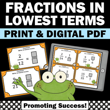 Simplifying Fractions Game with Task Cards, Lowest Terms, 4th Grade Math Review