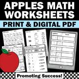 Kindergarten Math Worksheets, Apple Themed Classroom Activities